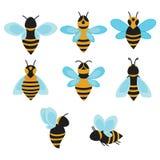 Σύνολο διανυσματικών τυποποιημένων μελισσών Συλλογή των λογότυπων με μια μέλισσα μελιού Εικονίδια με τα έντομα τέχνη Στοκ φωτογραφία με δικαίωμα ελεύθερης χρήσης
