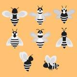 Σύνολο διανυσματικών τυποποιημένων μελισσών Συλλογή των λογότυπων με μια μέλισσα μελιού Γραπτά εικονίδια με τα έντομα Δερματοστιξ Στοκ Φωτογραφίες
