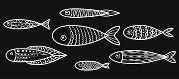 Σύνολο διανυσματικών τυποποιημένων ψαριών Στοκ εικόνα με δικαίωμα ελεύθερης χρήσης