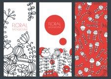 Σύνολο διανυσματικών floral υποβάθρων εμβλημάτων και άνευ ραφής σχεδίου Στοκ Φωτογραφία