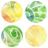 Σύνολο διανυσματικών Watercolor κύκλων Grunged Στοκ Εικόνες