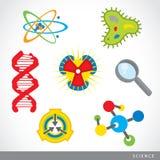 Σύνολο διανύσματος κινούμενων σχεδίων εργαστηρίων εικονιδίων ουσίας επιστήμης Στοκ Εικόνες