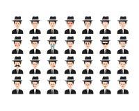Σύνολο διανύσματος μαφιών emoticon που απομονώνεται στο άσπρο υπόβαθρο Στοκ Φωτογραφία