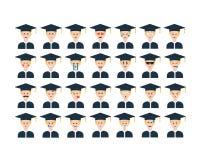 Σύνολο διανύσματος σπουδαστών emoticon που απομονώνεται στο άσπρο υπόβαθρο Στοκ φωτογραφίες με δικαίωμα ελεύθερης χρήσης