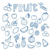 Σύνολο διανύσματος σχεδίων φρούτων doodle Στοκ φωτογραφίες με δικαίωμα ελεύθερης χρήσης