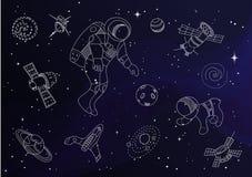 Σύνολο διαστημικών αντικειμένων γραμμών doodle Στοκ φωτογραφία με δικαίωμα ελεύθερης χρήσης