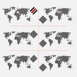 Σύνολο διαστιγμένων παγκόσμιων χαρτών στο διαφορετικό ψήφισμα Στοκ Εικόνα