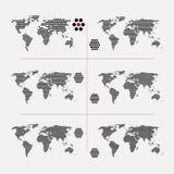 Σύνολο διαστιγμένων παγκόσμιων χαρτών στο διαφορετικό ψήφισμα Στοκ εικόνα με δικαίωμα ελεύθερης χρήσης