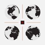 Σύνολο διαστιγμένων παγκόσμιων χαρτών στο διαφορετικό ψήφισμα Στοκ Εικόνες