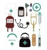 Σύνολο ιατρικού εξοπλισμού και προμηθειών Στοκ εικόνα με δικαίωμα ελεύθερης χρήσης