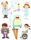 Σύνολο ιατρικού συνόλου νοσοκομείων ελεύθερη απεικόνιση δικαιώματος