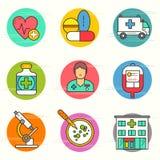 Σύνολο ιατρικών και ερευνητικών εικονιδίων Στοκ Εικόνα