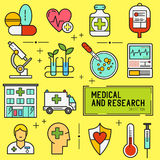 Σύνολο ιατρικών και ερευνητικών εικονιδίων Στοκ φωτογραφία με δικαίωμα ελεύθερης χρήσης