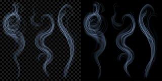 Σύνολο διαφανούς ανοικτό μπλε καπνού Διαφάνεια μόνο στο διάνυσμα Στοκ Εικόνες