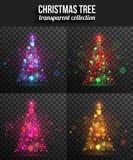 Σύνολο διαφανών λάμποντας χριστουγεννιάτικων δέντρων για Στοκ Φωτογραφία