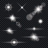 Σύνολο διαφανών φλογών φακών και αποτελεσμάτων φωτισμού Στοκ Εικόνες
