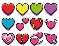 Σύνολο διαφορετικής καρδιάς που απομονώνεται στο άσπρο υπόβαθρο Στοκ Εικόνες