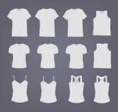 Σύνολο διαφορετικής ρεαλιστικής άσπρης θηλυκής και αρσενικής μπλούζας Μπροστινή και πίσω άποψη Πουκάμισο αμάνικο, κοντός-μανίκι,  διανυσματική απεικόνιση
