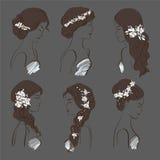 Σύνολο διαφορετικού γάμου hairstyles για τα brunettes με τα λουλούδια σε ένα σκοτεινό υπόβαθρο ελεύθερη απεικόνιση δικαιώματος