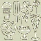 Σύνολο διαφορετικού παγωτού, διάνυσμα Στοκ Εικόνες