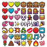 Σύνολο διαφορετικού Emojis που απομονώνεται στο άσπρο υπόβαθρο Στοκ φωτογραφία με δικαίωμα ελεύθερης χρήσης