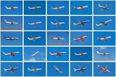 Σύνολο διαφορετικών αεροπλάνων, από τις διαφορετικές αερογραμμές Στοκ εικόνες με δικαίωμα ελεύθερης χρήσης