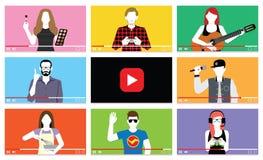 Σύνολο διαφορετικών ανθρώπων στα βίντεο Διαδικτύου Στοκ Φωτογραφία