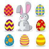 Σύνολο διαφορετικών αυγών Πάσχας και ενός κουνελιού Πάσχας Στοκ Εικόνες