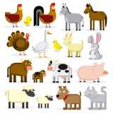 Σύνολο διαφορετικών ζώων αγροκτημάτων κινούμενων σχεδίων που απομονώνεται Στοκ φωτογραφίες με δικαίωμα ελεύθερης χρήσης