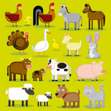 Σύνολο διαφορετικών ζώων αγροκτημάτων κινούμενων σχεδίων που απομονώνεται Στοκ Εικόνες