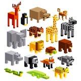 Σύνολο διαφορετικών ζώων κινούμενων σχεδίων που απομονώνεται Στοκ φωτογραφία με δικαίωμα ελεύθερης χρήσης