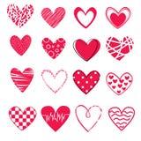 Σύνολο 16 διαφορετικών καρδιών στο άσπρο υπόβαθρο, εικονίδια για την ημέρα βαλεντίνων του ST Στοκ Φωτογραφία