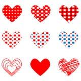 Σύνολο διαφορετικών καρδιών την ημέρα βαλεντίνων ` s Στοκ Φωτογραφία