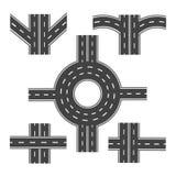 Σύνολο διαφορετικών οδικών τμημάτων με τις διασταυρώσεις κυκλικής κυκλοφορίας και διάφορων διατομών απεικόνιση Στοκ φωτογραφία με δικαίωμα ελεύθερης χρήσης