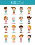 Σύνολο διαφορετικών παιδιών και διαφορετικών υπηκοοτήτων που απομονώνονται στο άσπρο υπόβαθρο Στοκ Φωτογραφία