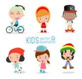 Σύνολο διαφορετικών παιδιών που απομονώνονται στο άσπρο υπόβαθρο Στοκ φωτογραφίες με δικαίωμα ελεύθερης χρήσης