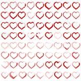 Σύνολο διαφορετικών σκιαγραφιών των καρδιών Στοκ εικόνα με δικαίωμα ελεύθερης χρήσης