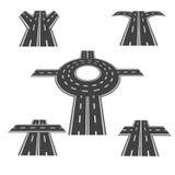 Σύνολο διαφορετικών τμημάτων του δρόμου με τις διατομές διασταυρώσεων κυκλικής κυκλοφορίας, και ποικίλες διαφορετικές γωνίες μακρ Στοκ Φωτογραφίες