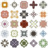 Σύνολο διαφορετικών χρωματισμένων σχεδίων αφηρημένο fractal Στοκ Εικόνα
