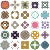 Σύνολο διαφορετικών χρωματισμένων σχεδίων αφηρημένο fractal Στοκ Εικόνες