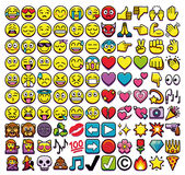 Σύνολο διαφορετικών 110 Emojis που απομονώνεται στο άσπρο υπόβαθρο Στοκ εικόνα με δικαίωμα ελεύθερης χρήσης