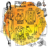 Σύνολο ιματισμού μόδας κοριτσιών και οδών Περιγραμματικός μέσα Στοκ Εικόνες