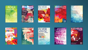 Σύνολο ιπτάμενου, ιπτάμενων προτύπων σχεδίου φυλλάδιων, αφισών και Plac Στοκ Εικόνες