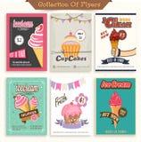 Σύνολο ιπτάμενων παγωτού και Cupcake Στοκ Εικόνες