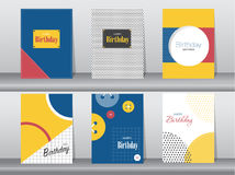 Σύνολο κάρτας γενεθλίων στο αναδρομικό σχέδιο σχεδίων, τρύγος, αφίσα, πρότυπο, χαιρετισμός, διανυσματικές απεικονίσεις Στοκ εικόνες με δικαίωμα ελεύθερης χρήσης