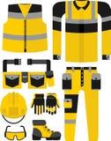 Σύνολο κίτρινου Μαύρου ένδυσης εργασίας Στοκ Εικόνα