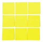 Σύνολο κίτρινων κολλωδών αυτοκόλλητων ετικεττών εγγράφου Στοκ Φωτογραφία