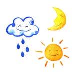 Σύνολο καιρικού watercolor εικονιδίων Χαριτωμένος ήλιος, φεγγάρι, αστέρι, πτώσεις, και σύννεφο χαμόγελου Χρωματισμένη χέρι απεικό Στοκ Εικόνα