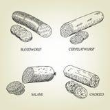 Σύνολο καπνισμένων λουκάνικων, bloedworst, cervelatwurst, εικονίδια σαλαμιού και chorizo Στοκ Φωτογραφία