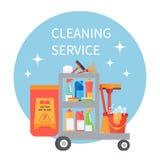Σύνολο καροτσακιών του καθαρισμού των προμηθειών και των εργαλείων οικιακού εξοπλισμού τα εύκολα εικονίδια ανασκόπησης αντικαθιστ Στοκ Εικόνα